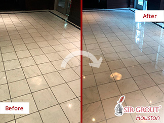 Before and after Picture of This Floor after a Stone Polishing Services in Houston