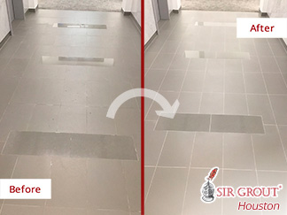 Before and after Picture of These Floors Revamped after a Grout Sealing in Houesotn