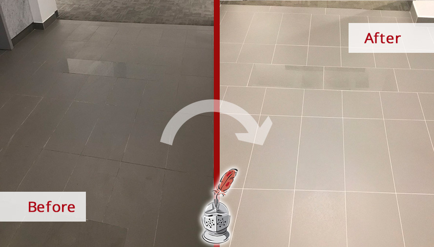 Before and after Picture of a Grout Sealing Job Done in Houston, to Restore These Damaged Floors