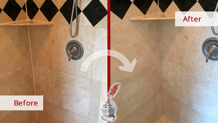 Before and after Picture of This Shower after a Stone Cleaning Job in Houston, TX