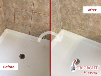 Before and after Picture of These Surfaces Restored Thanks to a Grout Cleaning Job Done in Houston
