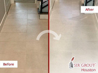 Before and after Picture of This Grout Cleaning Job Done in Houston
