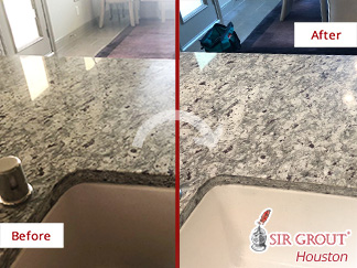 Before and after Picture of a Stone Honing Job in Houston, TX