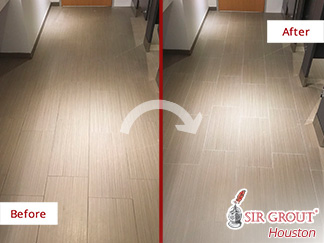 Before and after Picture of a Grout Sealing Job in Houston, TX