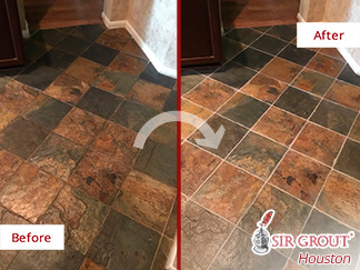 Before and after Picture of a Grout Sealing Service in Houston, TX