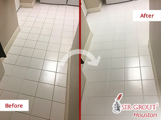 Before and after Picture of Grout Cleaning Job in Houston, Texas