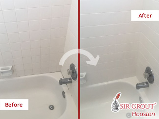 Before and After Picture of a Caulking Job in Houston