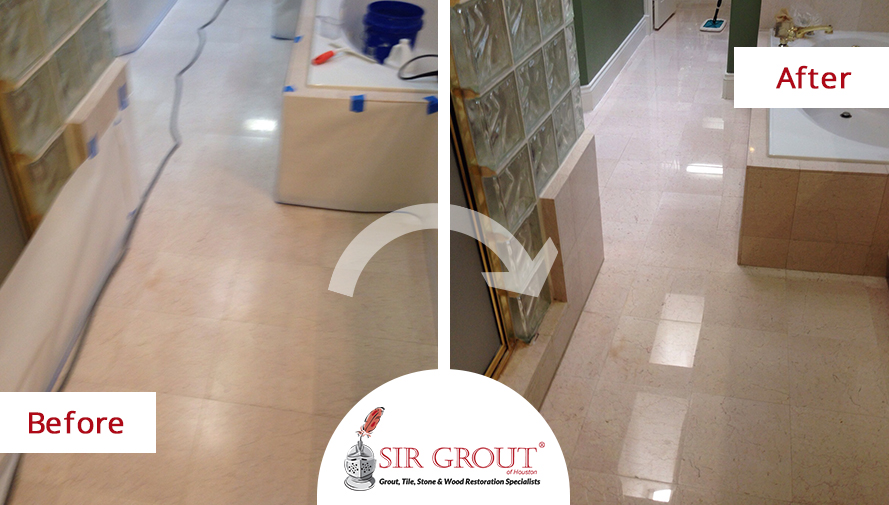 Stone Honing Restores Shine Of Houston Customers Master Bathroom Floor - Marble floor shiner