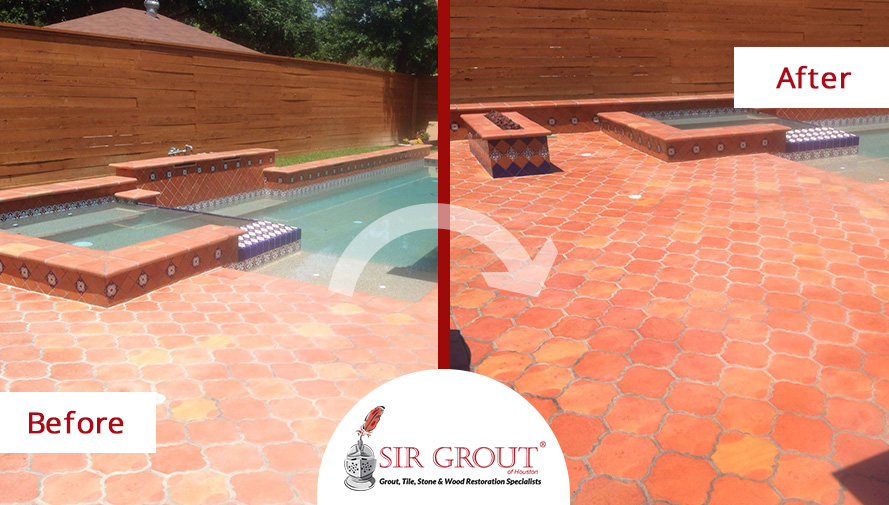 This Saltillo Tile Pool Deck In Houston Was Treated With A Stone