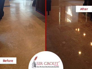 Before and After Picture of a Stone Polishing Service in Kingwood, Texas