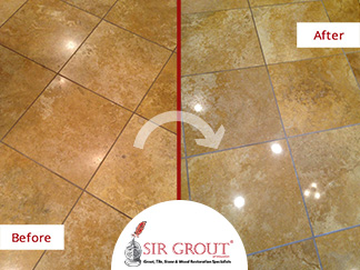 Before and After Picture of a Stone Polishing Service in Houston, Texas