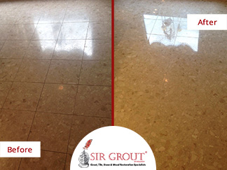 Before and After Picture or a Stone Polishing Service in Houston, TX