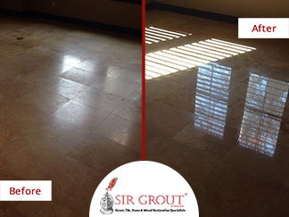Before and After Picture of a Stone Polishing Service in Sugar Land, Texas