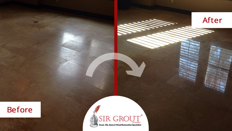 Before and After Picture of a Stone Polishing in Sugar Land, TX