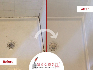 Before and After Picture of a Caulking Service in Houston, TX