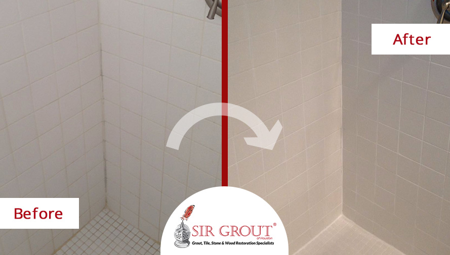 Before and After Picture of a Grout Sealing in Katy, TX
