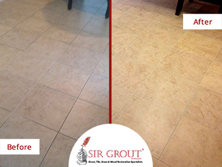 Before and After Picture of a Grout Cleaning Service in Friendswood, TX