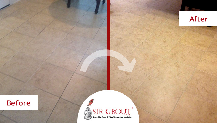 Before and After Picture of a Grout Cleaning in Friendswood, TX
