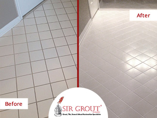 Before and After Picture of a Grout Recoloring Service in Sugar Land, TX