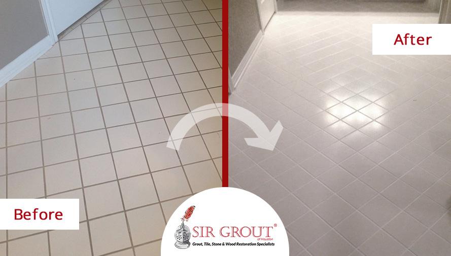 Before and After Picture of a Grout Recoloring in Sugar Land, Texas