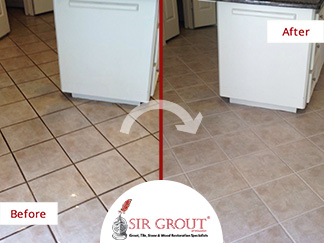 Before and After Picture of a Grout Recoloring in Houston, TX
