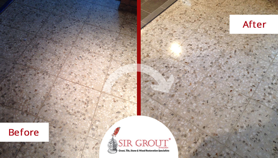 Before and After Picture of a Grout Cleaning Job in Sugar Land, Texas