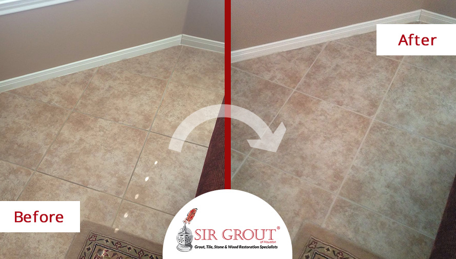 Before And After Picture Of Grout Cleaning Job In Katy, TX