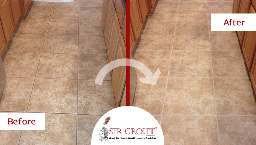 Before and After Picture of a Grout Cleaning in Katy, TX