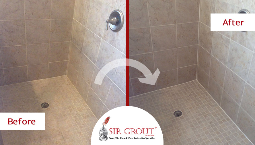 Before and After Picture of a Grout Sealing Service in Spring, Texas
