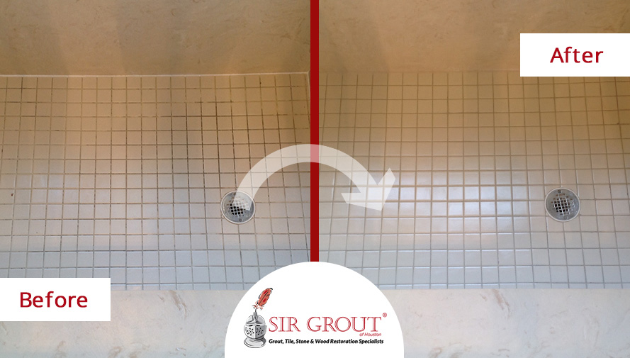 Before and After Picture of a Grout Cleaning in Houston, Texas