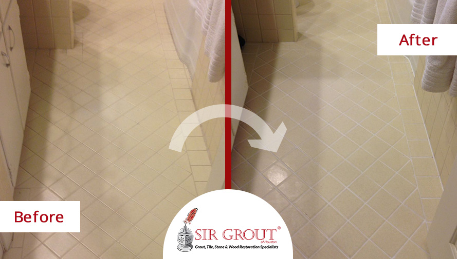 Before and After of a Grout Cleaning Service on a Bathroom Floor in Magnolia, TX.