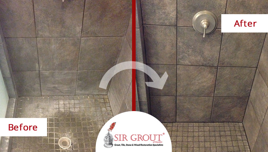 Before and After Picture of a Grout Cleaning Service on a Shower in Magnolia, TX.