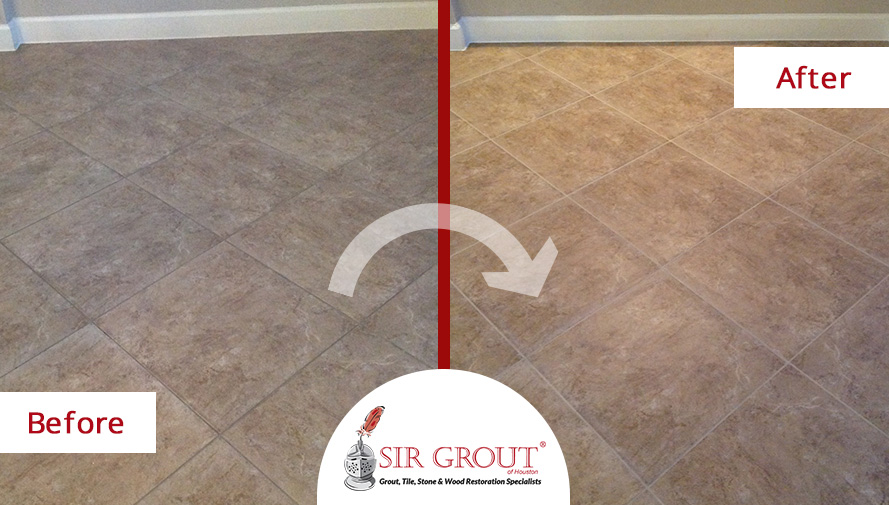 Before and After Picture of a Stone Sealing Service in Houston, Texas