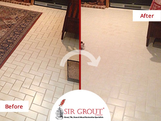 Before and After Picture of a Grout Cleaning Job in Houston, TX