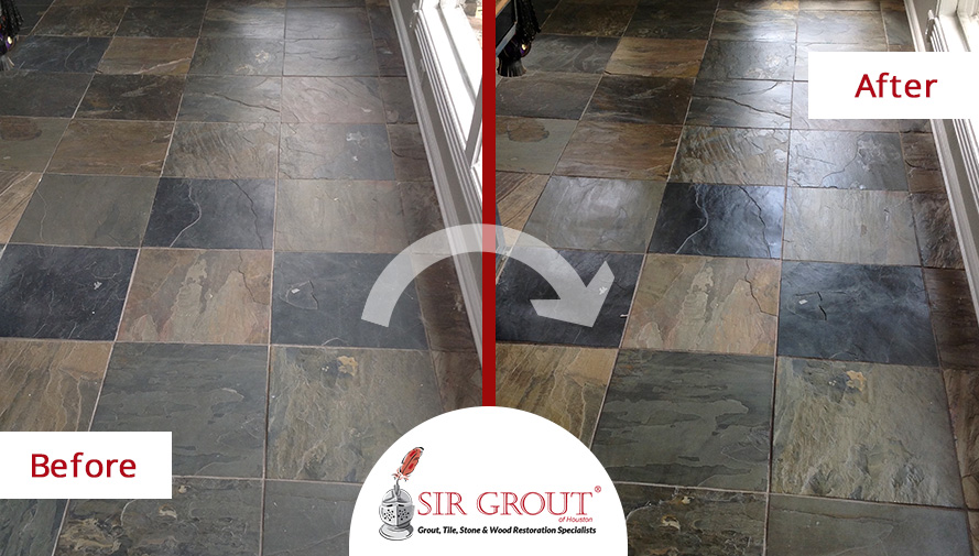 Before and After Picture of a Tile Cleaning Service in Houston, TX