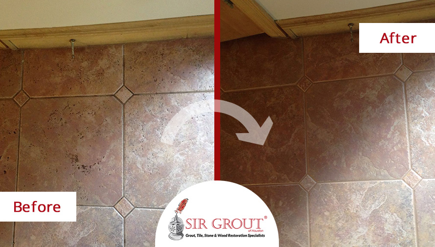 Before and After Picture of a Tile Cleaning Service in Spring, TX