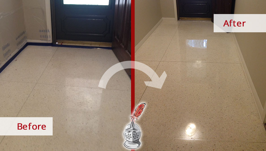 Before and After Picture of Etched Stone Floor in Houston, Texas