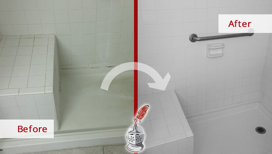 Before and After Picture of a Tile and Grout Cleaners in Houston, TX