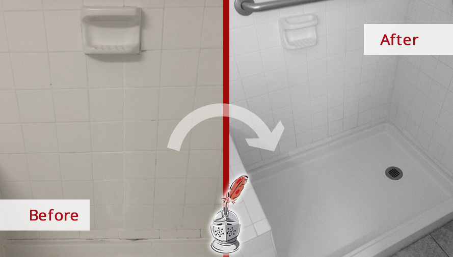 Before and After Picture of a Shower Tile and Grout Cleaners in Houston, TX