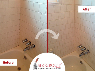 Before and After Picture of a Shower Caulking Service in Houston, Texas