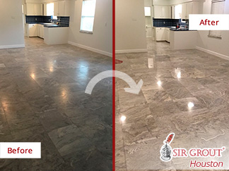 Before and after Picture of Our Stone Polishing Job That Transformed This Travertine Floor in Houston, TX