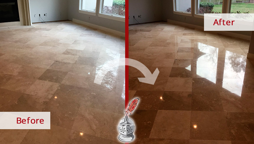 Before and after Picture of This Stone Polishing Job That Brought Back the Shiny Appearance of This Marble Floor in Houston, TX