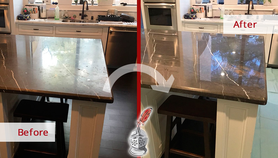 Before and after Picture of This Marble Countertop in Houston, TX, That Looks Shiny Again Thanks to a Stone Polishing Job