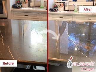 Before and after Picture of This Drastic Change of This Marble Countertop in Houston, TX, after a Stone Polishing Job