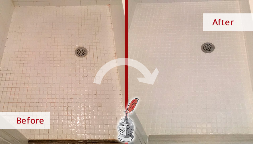 Before and after Picture of This Shower Now Restored after a Professional Grout Cleaning Process Done in Houston, TX