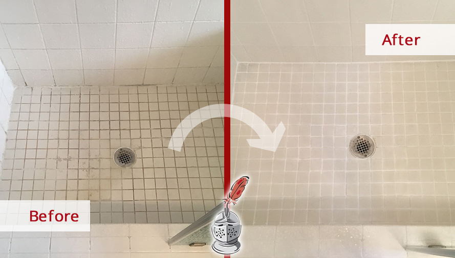 Before and After Picture of a shower Grout Cleaning Job in Houston, Tx