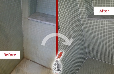 Before and After Picture of Bathroom Grout Cleaning and Sealing on a Shower with Mold and Mildew