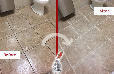Before and After Picture of a Bathroom Grout Cleaning on an Office Restroom