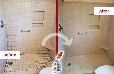 Before and After of Grout Cleaning on a Shower with Mold and Mildew