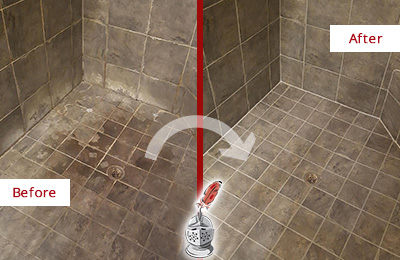 Before and After of Grout Sealing on a Shower to Remove Efflorescence